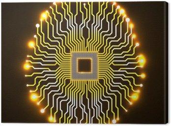 Quadro su Tela Cervello Neon. Processore. Scheda di circuito. tecnologia sfondo astratto