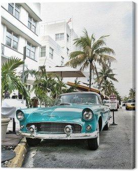 Quadro su Tela Classic car americana a South Beach, Miami