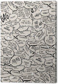 Quadro su Tela Collage di bolle comici dialogo prenota