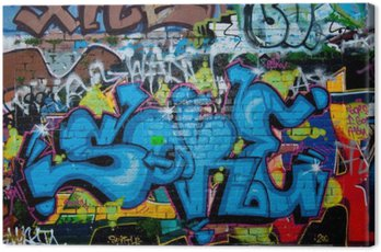 Quadro su Tela Dettaglio Graffiti sul muro di mattoni texture