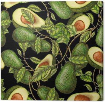 Quadro su Tela Disegnati a mano avocado su sfondo scuro, seamless