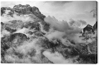 Quadro su Tela Dolomiti Montagne in bianco e nero