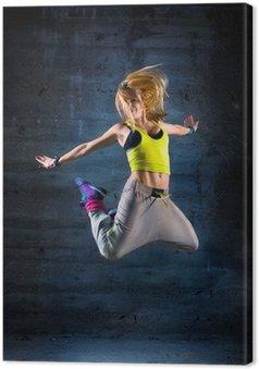 Quadro su Tela Donna che balla in ambiente urbano