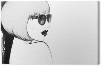 Quadro su Tela Donna con gli occhiali. acquarello illustrazione