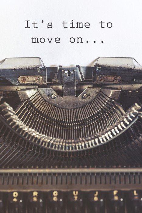 Quadro su Tela E 'tempo di passare un messaggio motivazionale scritto con una macchina d'epoca - Emozioni e Stati d'animo