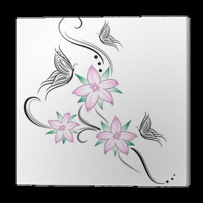Quadro su tela fiori di ciliegio e farfalline stilizzati for Quadri fiori stilizzati