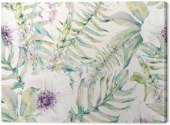 Quadro su Tela Foglia Acquerello seamless con felci e fiori