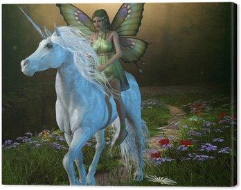 Quadro su Tela Foresta Fata e Unicorn