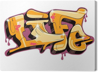 Quadro su Tela Graffiti disegno vettoriale testo