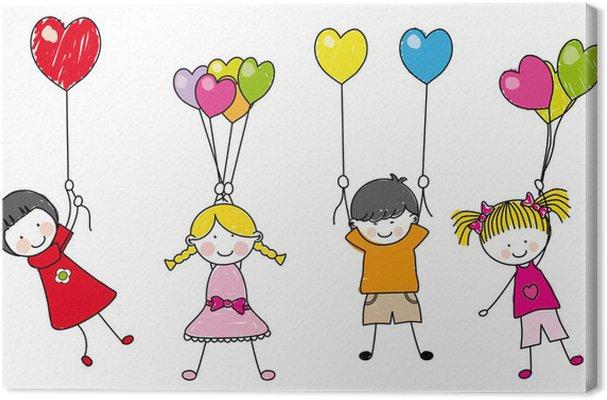 Quadro su tela i bambini con palloncini pixers - Immagine con palloncini ...
