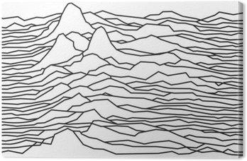 Quadro su Tela Il ritmo delle onde, la pulsar, linee vettoriali disegno, linee spezzate, montagne
