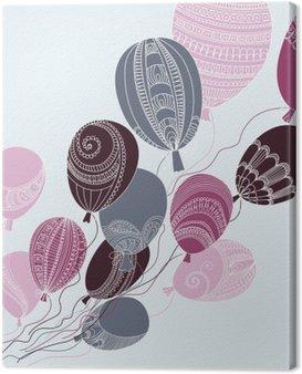 Quadro su Tela Illustrazione con palloncini volanti colorati