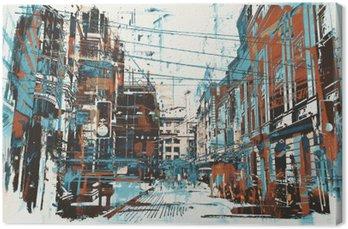 Quadro su Tela Illustrazione pittura di strada urbana con struttura del grunge