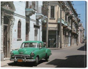 Quadro su Tela L'auto è parcheggiata nel centro di L'Avana Vecchia