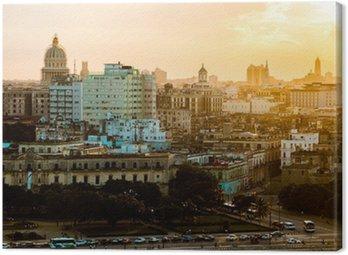 Quadro su Tela L'Avana (Habana) nel tramonto, Cuba