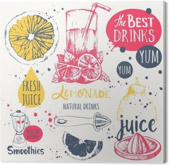 Quadro su Tela Le bevande in stile schizzo. succhi di frutta naturali utili e frullati.