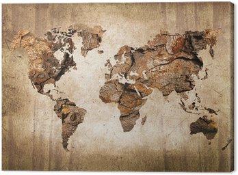 Quadro su Tela Legno mappa del mondo, texture vintage