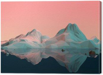 Quadro su Tela Low Poly-3D Paesaggio di montagna con acqua e di riflessione