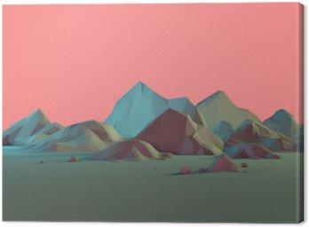 Quadro su Tela Low Poly-Paesaggio 3D montagna con pastelli