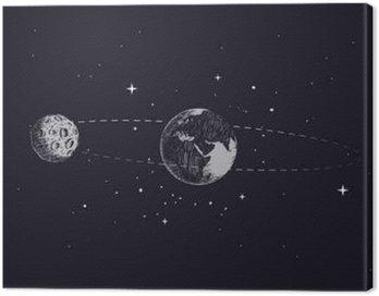 Quadro su Tela Luna orbita intorno alla terra del pianeta nella sua orbita