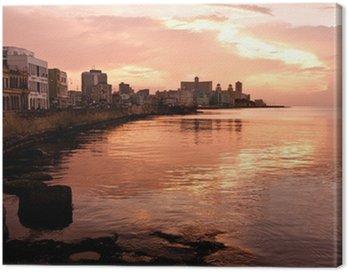 Quadro su Tela Malecon al tramonto. L'Avana (Cuba)