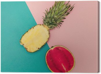 Quadro su Tela Mix tropicale. Ananas e anguria. Stile minimal