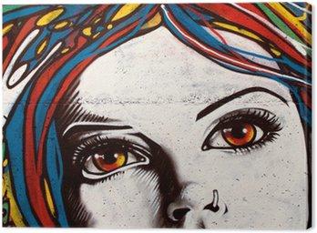 Quadro su Tela Moderno stile graffiti sul muro di mattoni.