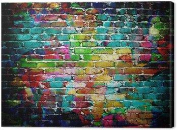 Quadro su Tela Muro di mattoni dei graffiti