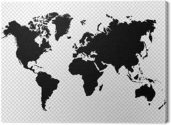 Quadro su Tela Nero silhouette isolato World map file vettoriale EPS10.