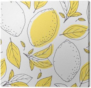 Quadro su Tela Outline seamless con disegnata a mano di limone e le foglie. frutta Doodle per il pacchetto o il disegno della cucina