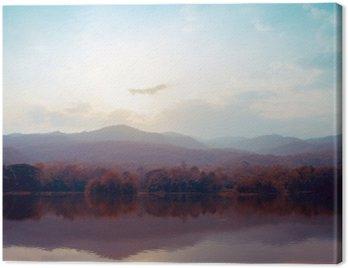 Quadro su Tela Paesaggio di montagna lago in autunno - stili d'epoca.