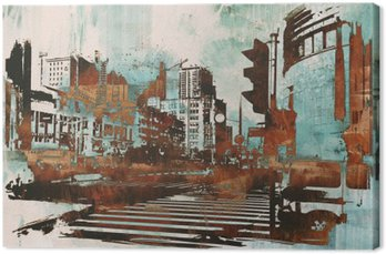Quadro su Tela Paesaggio urbano urbano con grunge astratta, illustrazione pittura