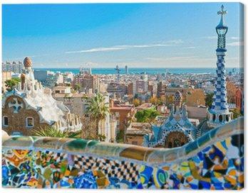 Quadro su Tela Park Guell di Barcellona, Spagna.