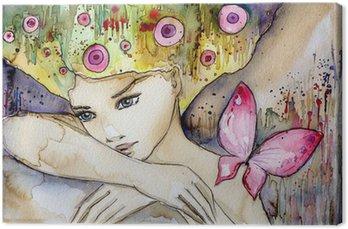 Quadro su Tela Piękna dziewczyna z motylem