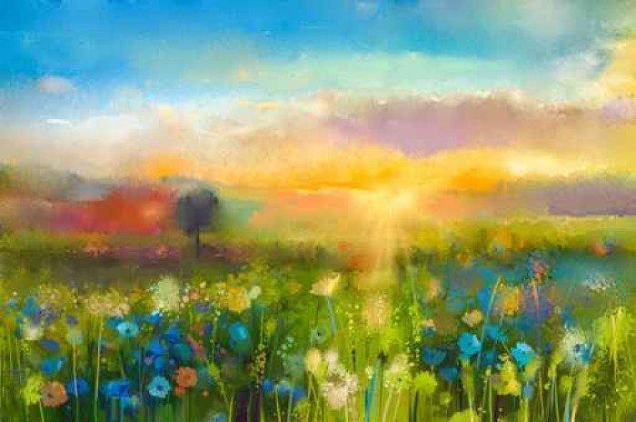 Quadro su tela pittura ad olio fiori di tarassaco for Fiori ad olio