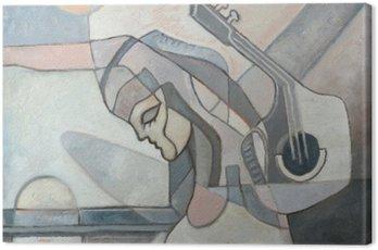 Quadro su Tela Pittura astratta con la donna e la chitarra