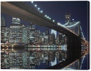Quadro su Tela Ponte di Brooklyn e skyline di Manhattan di notte, New York City