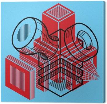 Quadro su Tela Progettazione 3D, astratto illustrazione forma di cubo tridimensionale.