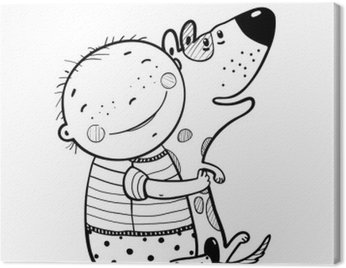 Quadro su Tela Ragazzino abbraccia cane Migliori Amici Felici Outline