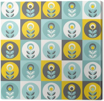 Quadro su Tela Retro motivo floreale, fiori senza soluzione geometrici