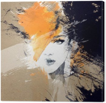 Quadro su Tela Ritratto di donna. acquerello astratto. moda sfondo