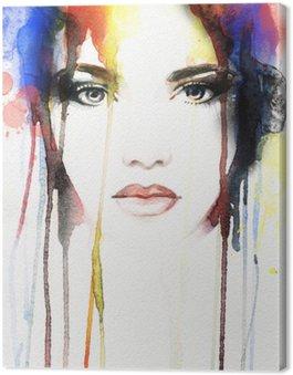 Quadro su Tela Ritratto di donna. acquerello astratto