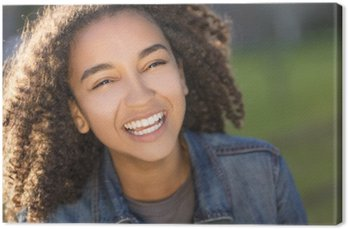Quadro su Tela Sangue misto della ragazza dell'afroamericano Adolescente con i denti perfetti