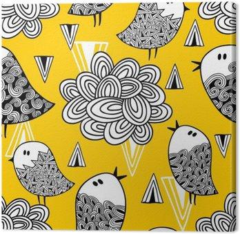 Quadro su Tela Seamless creativo con uccelli Doodle ed elementi di design.