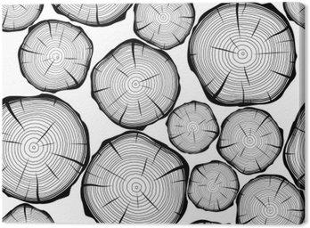 Quadro su Tela Seamless pattern con gli anelli degli alberi. Vector background