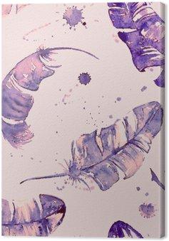 Quadro su Tela Seamless pattern con le piume acquerello