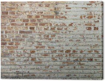 Quadro su Tela Sfondo di un vecchio muro di mattoni annata sporco con intonaco peeling