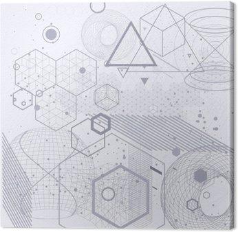 Quadro su Tela Simboli geometria sacra ed elementi di sfondo. Cosmic, universo, Bing Bang, alchimia, religione, filosofia, astrologia, scienza, fisica, chimica e spiritualità temi.