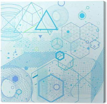 Quadro su Tela Simboli geometria sacra ed elementi di sfondo