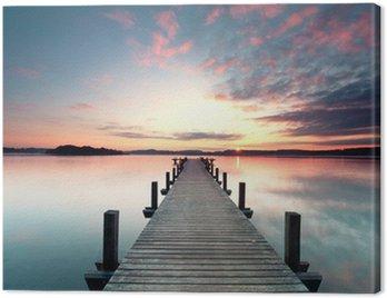 Quadro su Tela Sommermorgen mit Sonnenaufgang